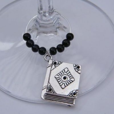 Large Book Wine Glass Charm - Beaded Style